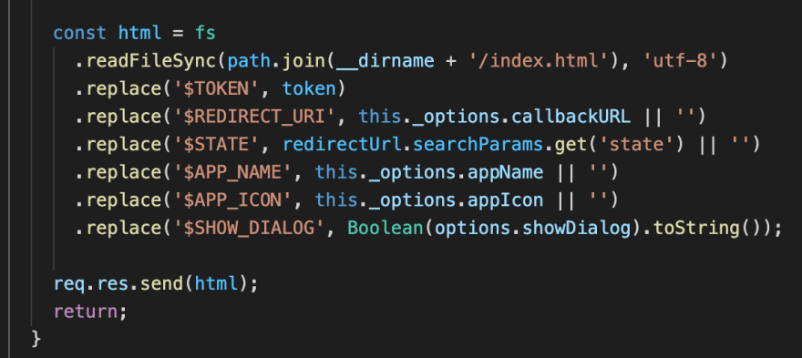 Placeholders in template are replaced with actual values using string.replace