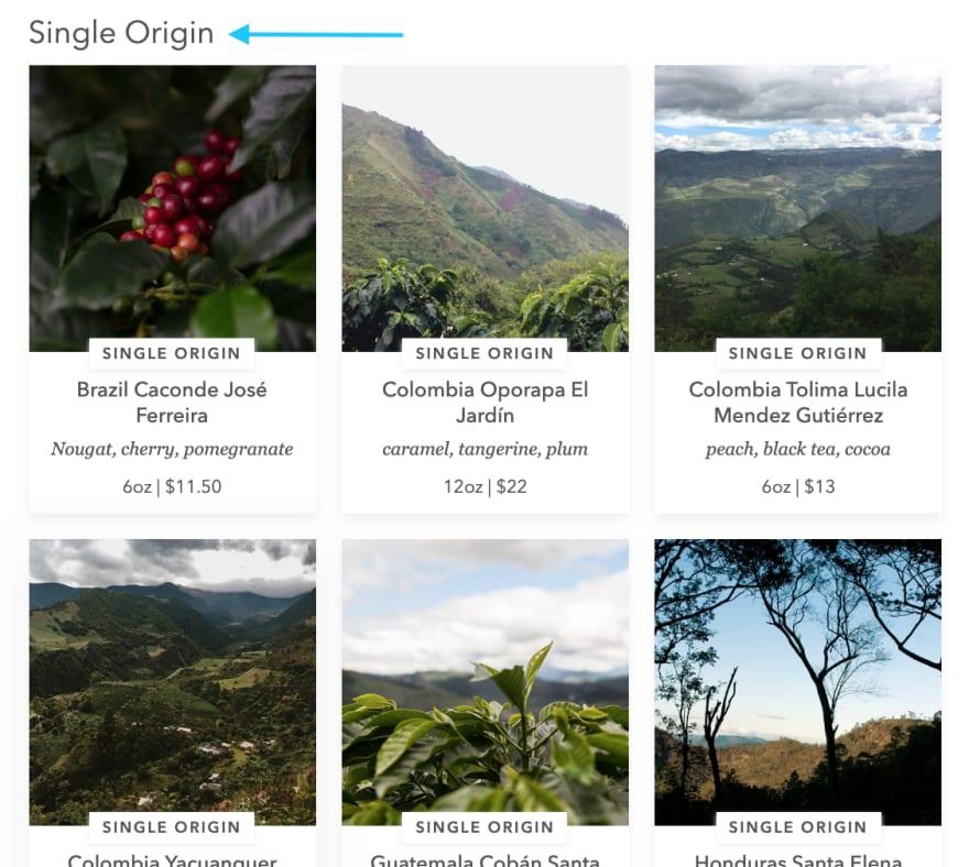 single origin section on bluebottlecoffee.com