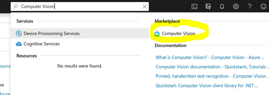 Screenshot of the Azure Portal, search for Computer Vision and choose it from Azure Marketplace