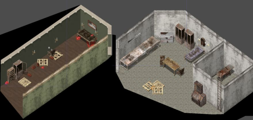 LEFT: hallway RIGHT: basement