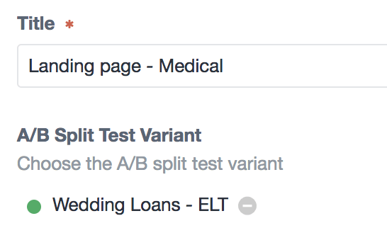 A B Split Test Entry