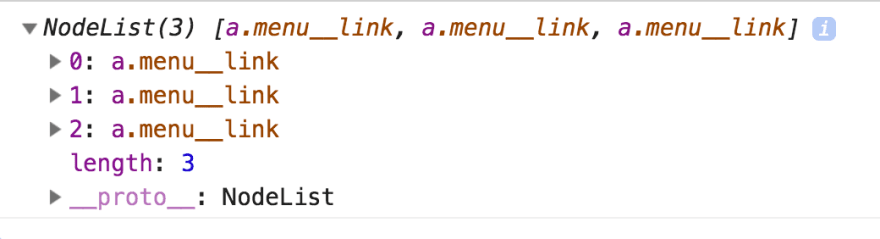Google Chrome console displaying a NodeList of the menu link class.