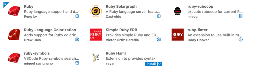 ruby extension pack for vscode