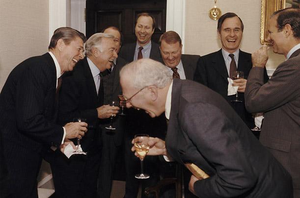 Rich folk laughing