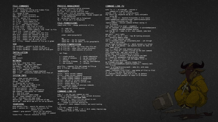 bash cheat sheet wallpaper