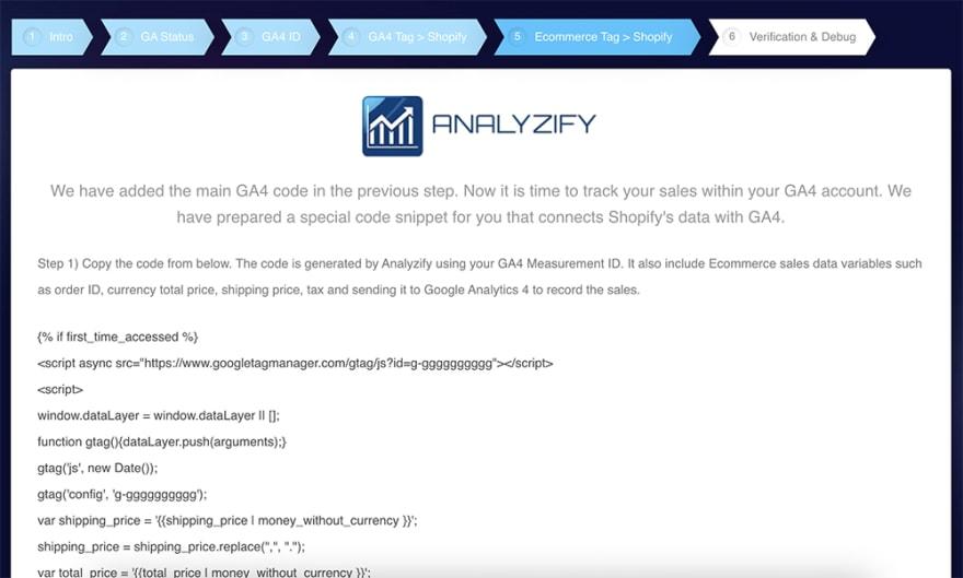 Analyzify Google Analytics 4 Shopify Wizard