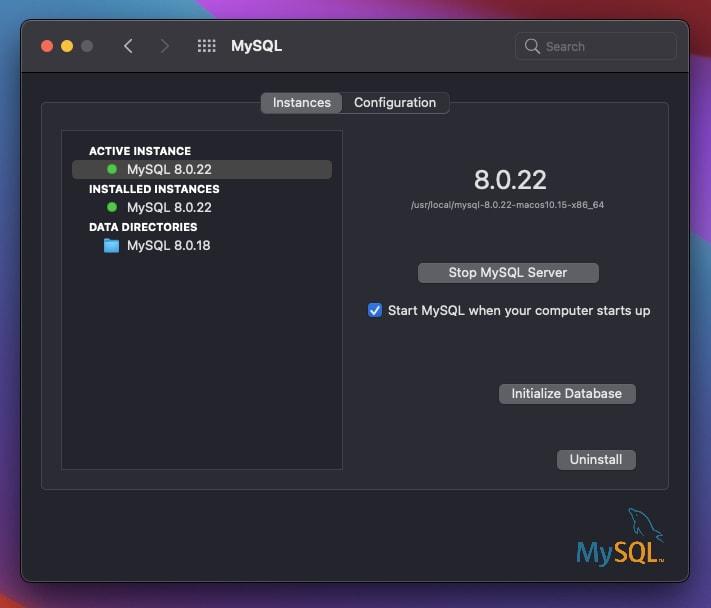 MySQL start/stop