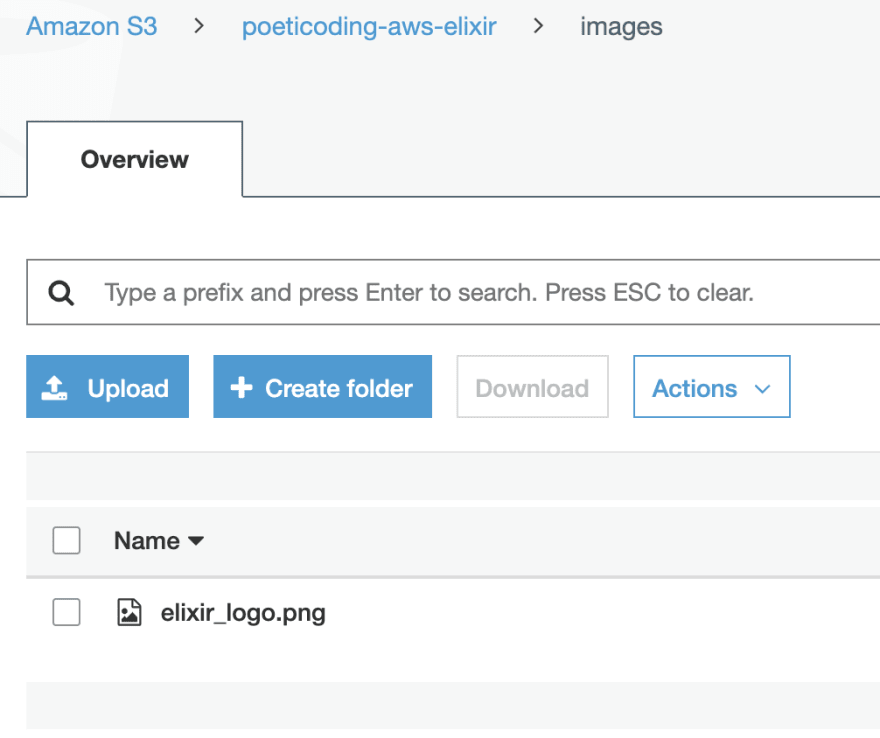 Uploaded file visible on AWS Management console