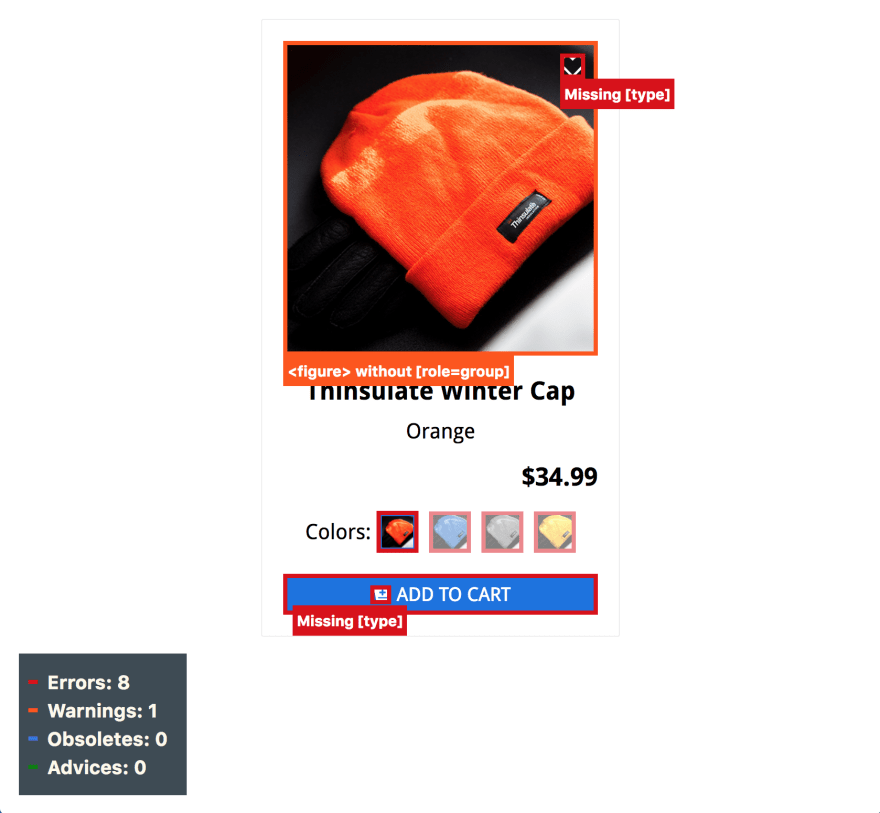 """ecommerce listing showing orange knitted winter hat, the name of item """"Thinsulate Winter Cap"""", and the $20.99 sale price with a crossed out $34.99 price, and an """"add to cart"""" button in blue, on the bottom, with outlines around components showing accessibility ratings"""