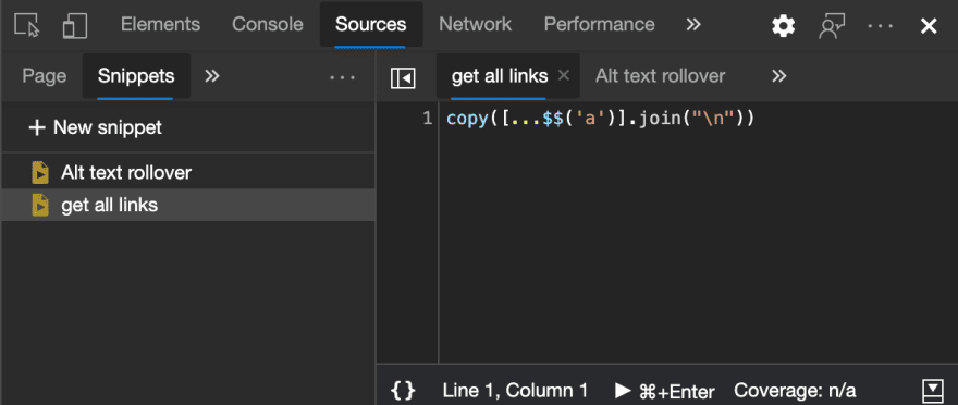 Snippets collection in developer tools