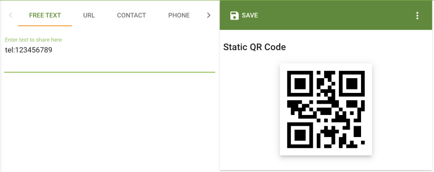QR generator input box with a value of 'tel:123456789' and the generated QR Code