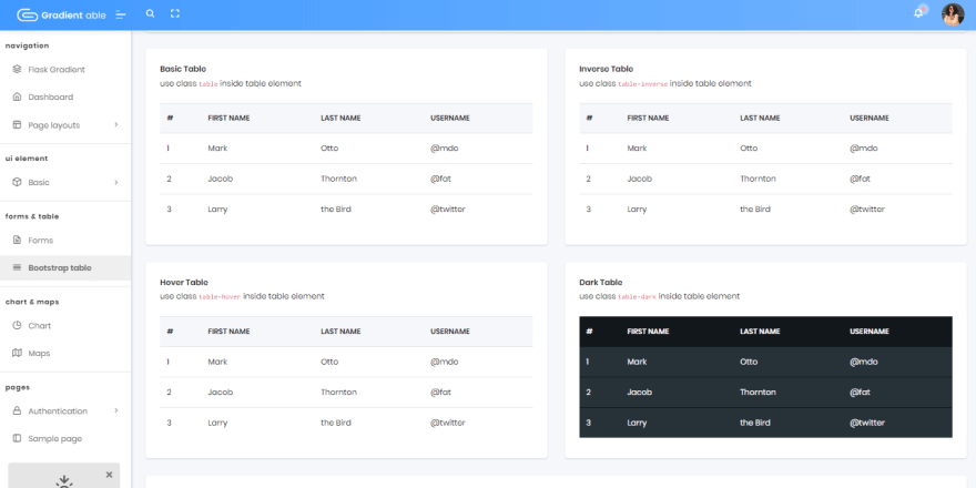 Flask Dashboard Gradientable - UI Tables page.