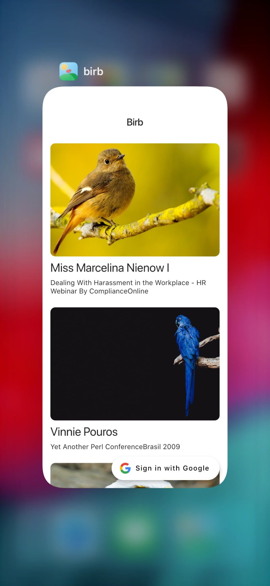 Birb logo on iOS app switcher