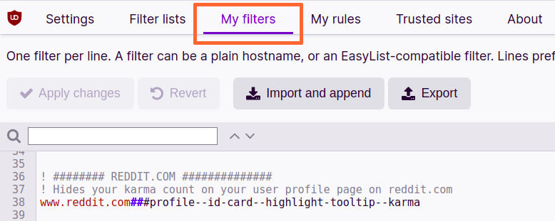 Pic of uBlock my filters section