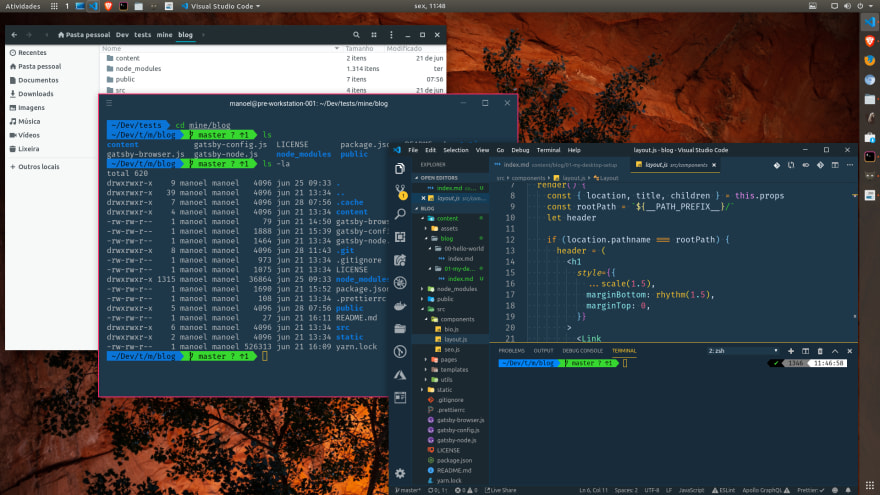 Open application windows:  a code editor, a terminal, and a file manager