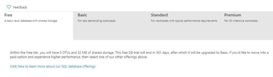 Azure-SQL-Free-Tier