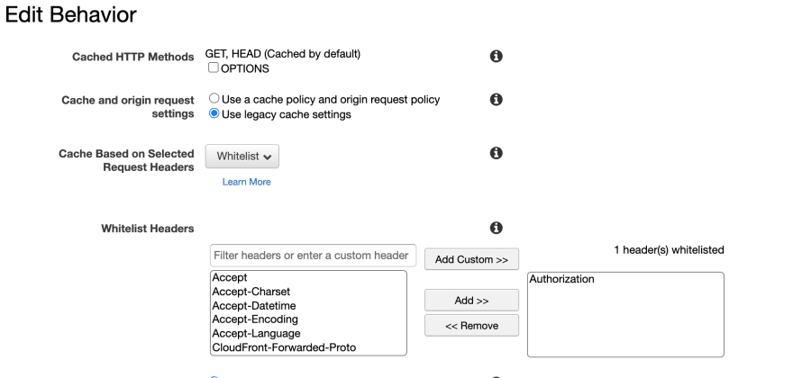 Whitelist Headers on Cloudfront