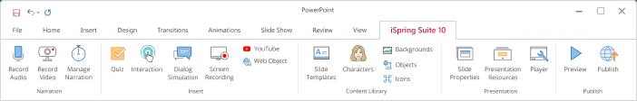 iSpring Suite toolbar