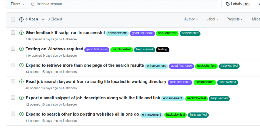 GitHub issues section