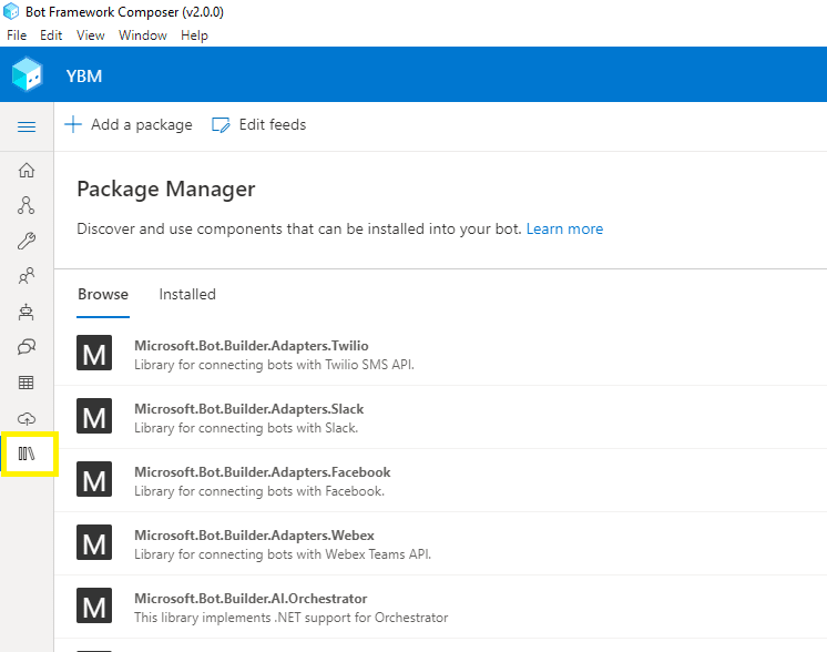 Package Manager for Bot Framework Composer
