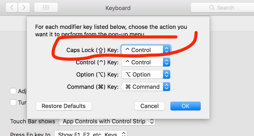 caps lock to control