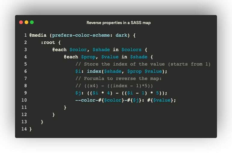 Reverse properties in a SASS map