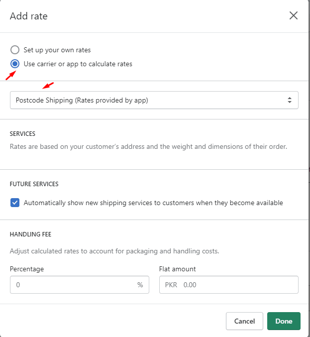 Add rate modal from Shopify Admin