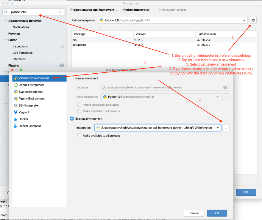 Selecting virtualenv in pycharm