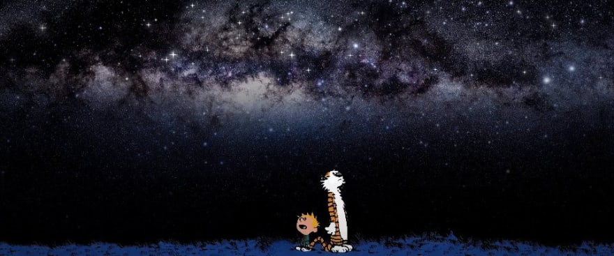 Calvin and Hobbes looking up to the stars