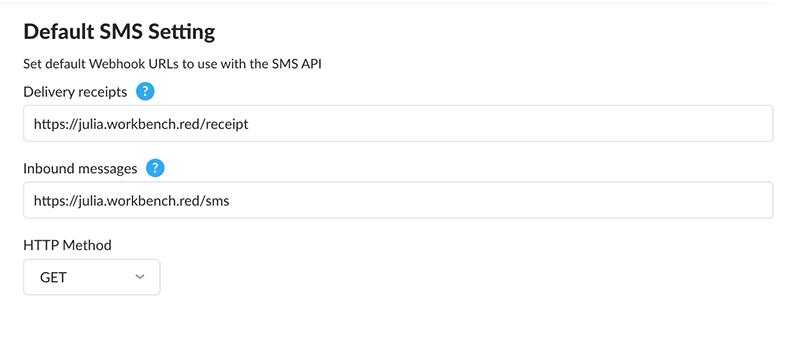 default sms settings nexmo dashboard