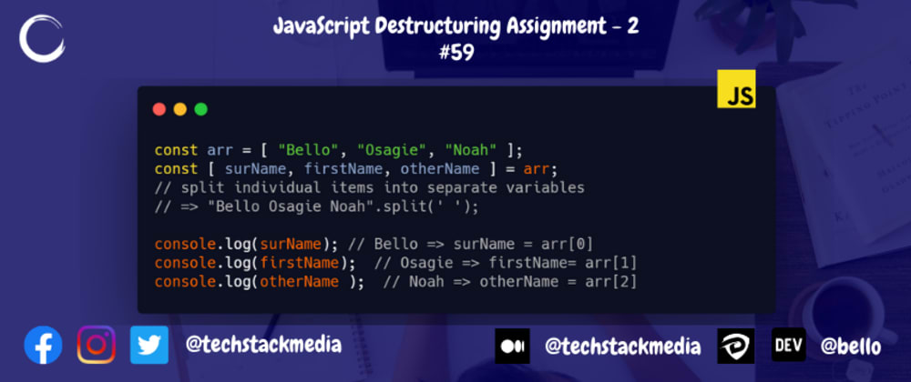 Cover image for JavaScript Destructuring Assignment - 2