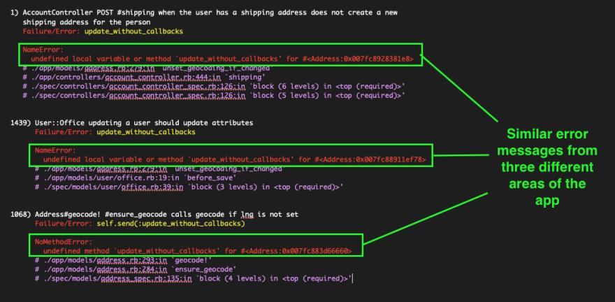 Code example of similar error types