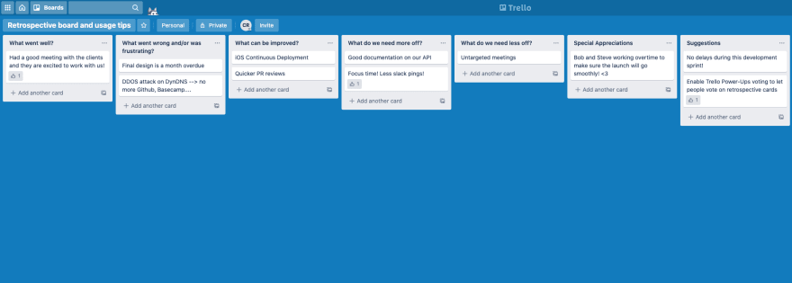 Screenshot of retrospective board and usage tips