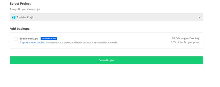 Click Create Droplet