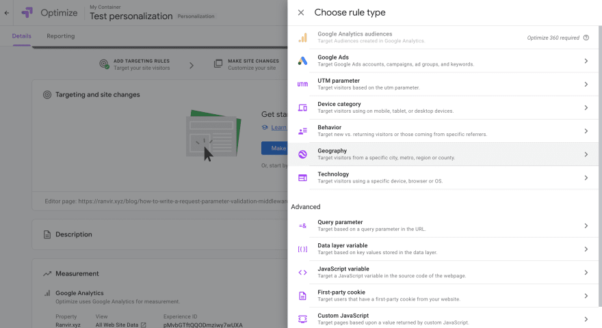 Personalize test options using Google Optimize