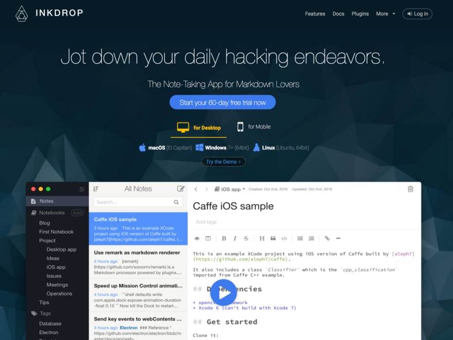 Inkdrop's landing page