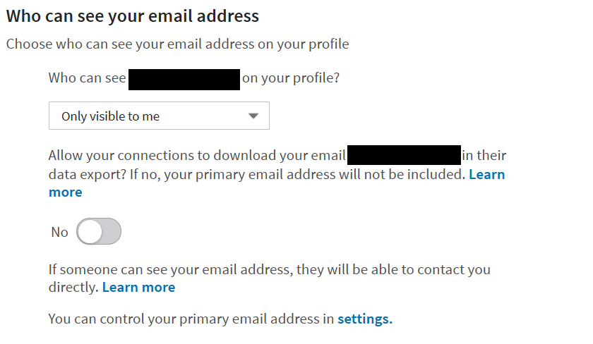 LinkedIn Email Settings