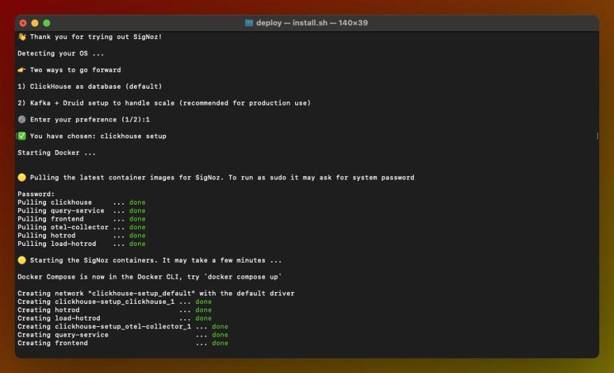 SigNoz installation process on mac terminal