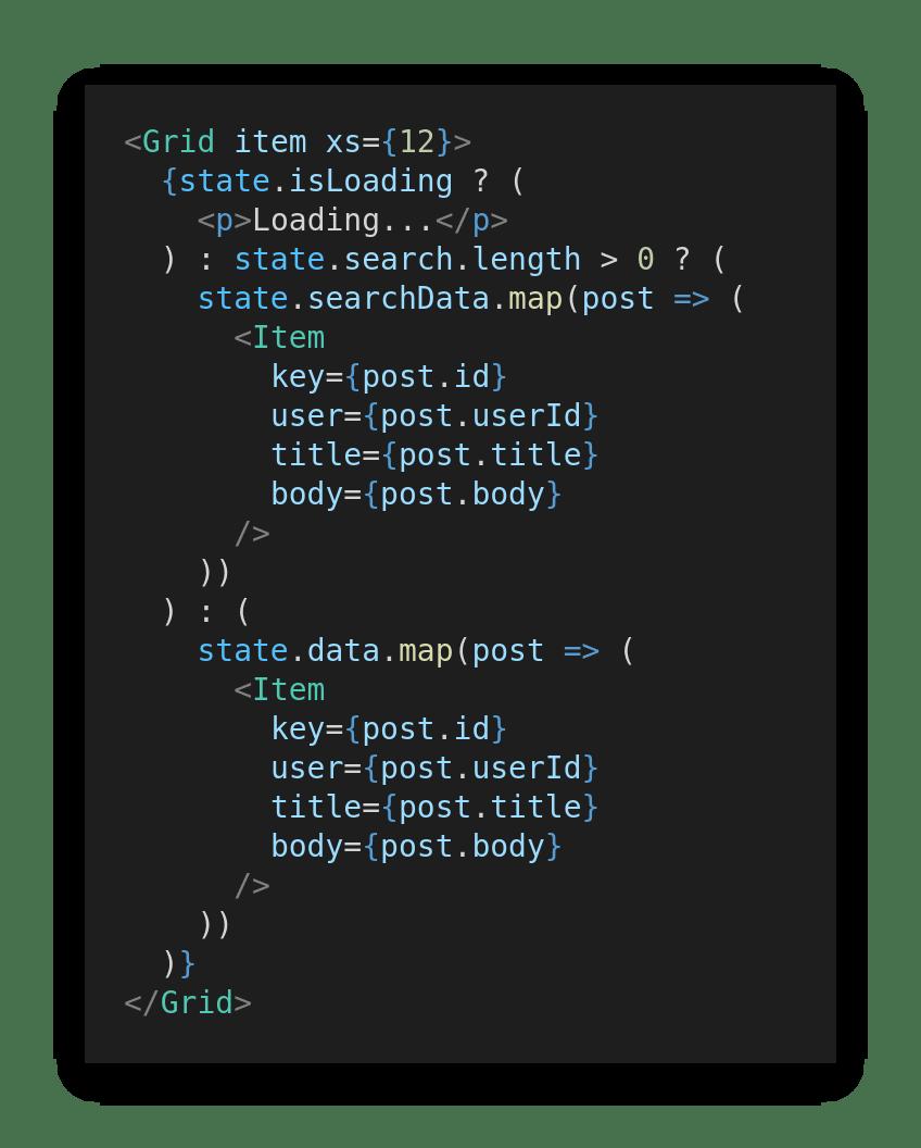 Ternary operator in App.js return