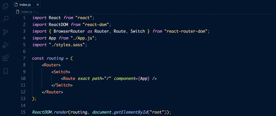 React code snippet with the August - Night Owl theme