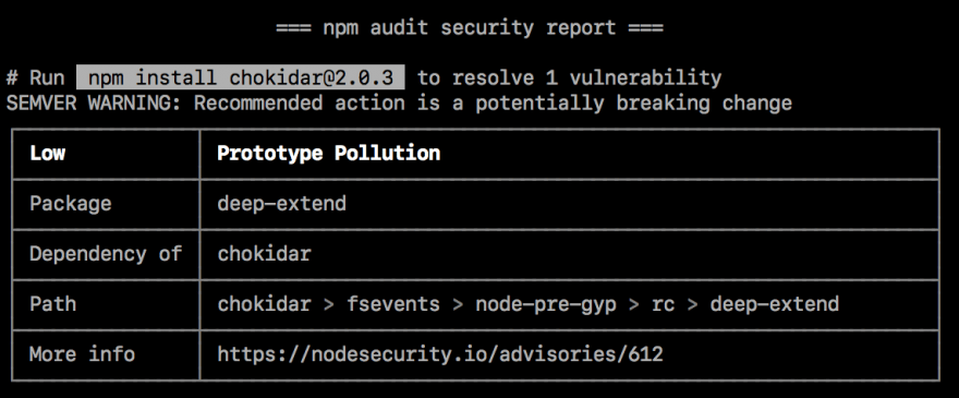 command line vulnerability table with suggested fix