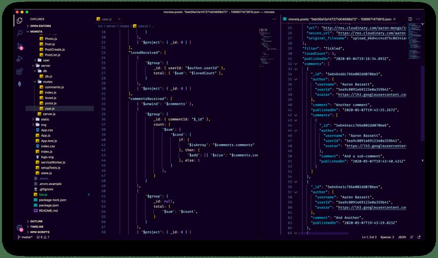 Code and Schema split pane view