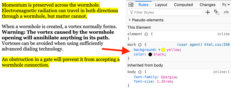The HTML <mark> element could help make your text more