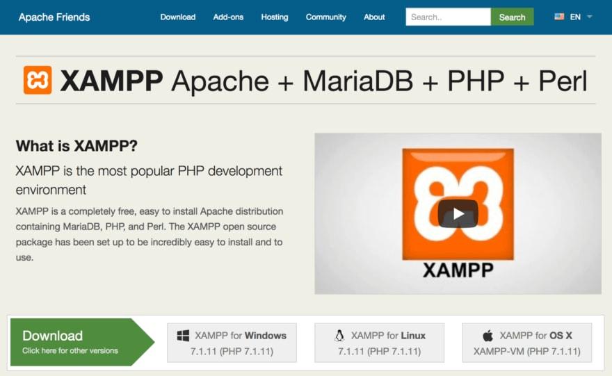 The XAMPP website.
