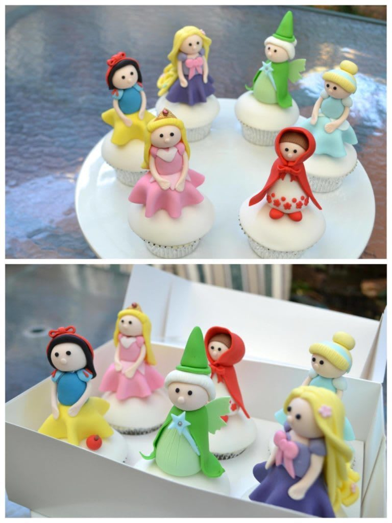 Cupcakes with princess toppers made from fondant