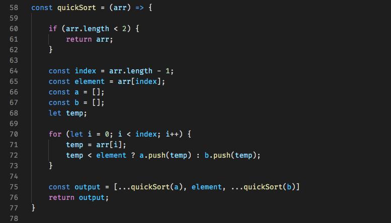 Code for Quick Sort