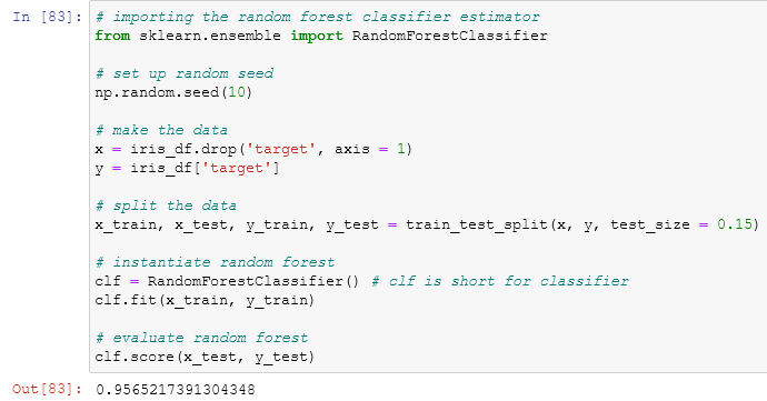 using the random forest classifier