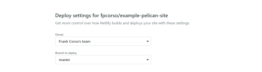 Deploy settings for the site showing branch to deploy set to master.