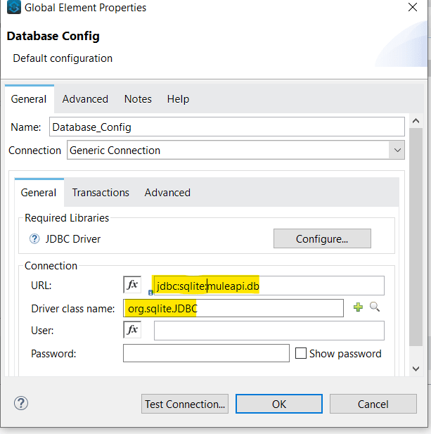 Generic Database Connection to SQLite