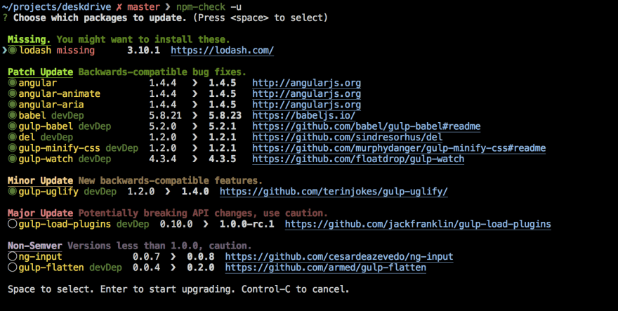 Command line tool showing an interactive GUI for updating NPM packages